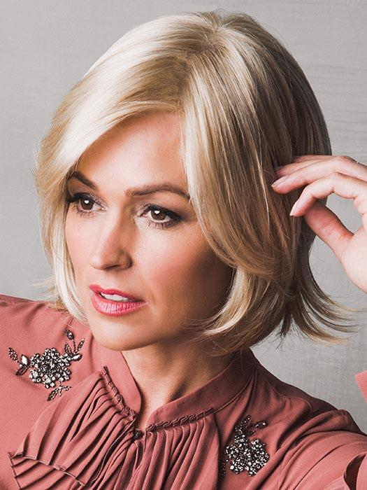 A classy chin-length bob with side-swept fringe