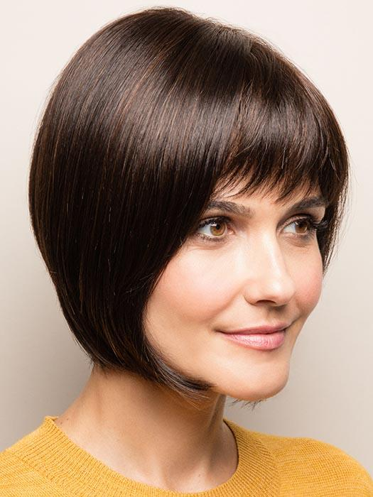 A sleek a-line bob with full fringe and a tapered nape