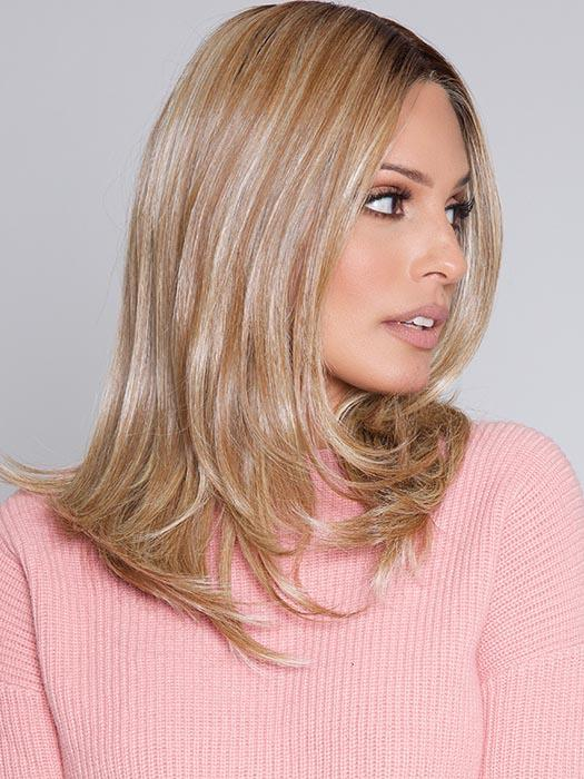 NICE MOVE by RAQUEL WELCH in RL12/22SS SHADED CAPPUCCINO | Light Golden Brown Evenly Blended with Cool Platinum Blonde Highlights with Dark Roots