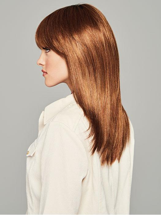 The full fringe can be worn down or swept to one side
