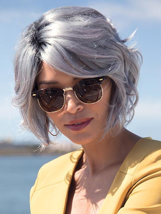 EDEN by NORIKO in SMOKY-GRAY-R | Medium Gray with silver highlights and blue undertones with Dark Roots