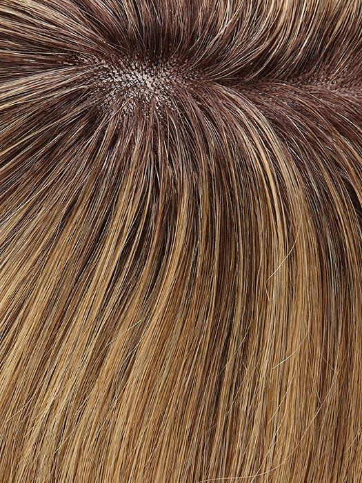 24BT18S8 SHADED MOCHA | Medium Natural Ash Blonde and Light Natural Gold Blonde Blend with Light Natural Gold Blonde tips, Shaded with Medium Brown