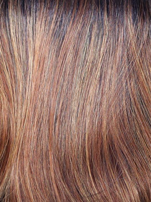 SHADED-AMBER | Coppery Blonde and Red Blend with Dark Amber Brown Roots