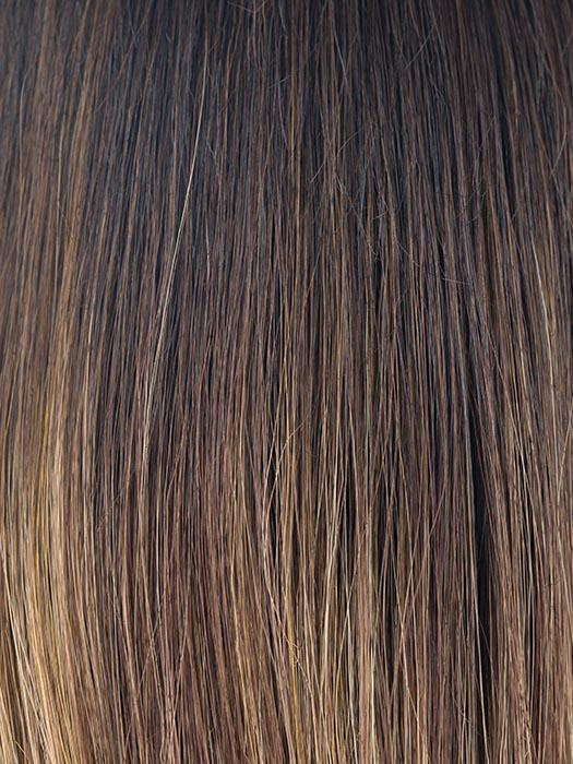 MARBLE-BROWN-R | Medium Brown and Light Honey Brown blend and Dark Roots