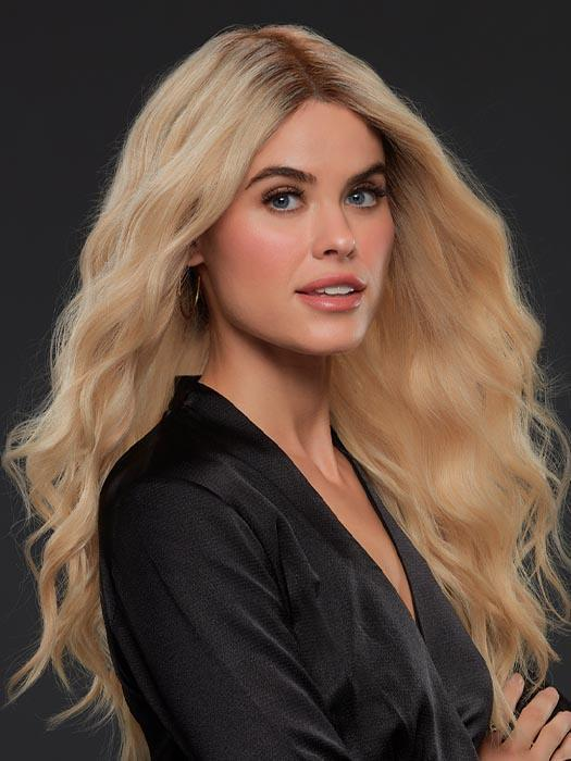 BLAKE by JON RENAU in FS24/102S12 LAGUNA BLONDE | Light Natural Gold Blonde with Pale Natural Gold Blonde bold highlights, Shaded with Light Gold Brown