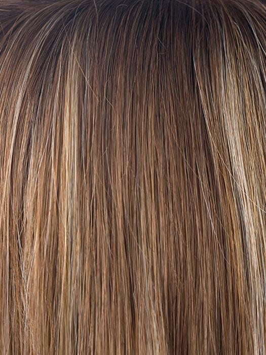 MAPLE-SUGAR-R | Light Honey Brown base with Strawberry Blonde highlights with Dark Roots