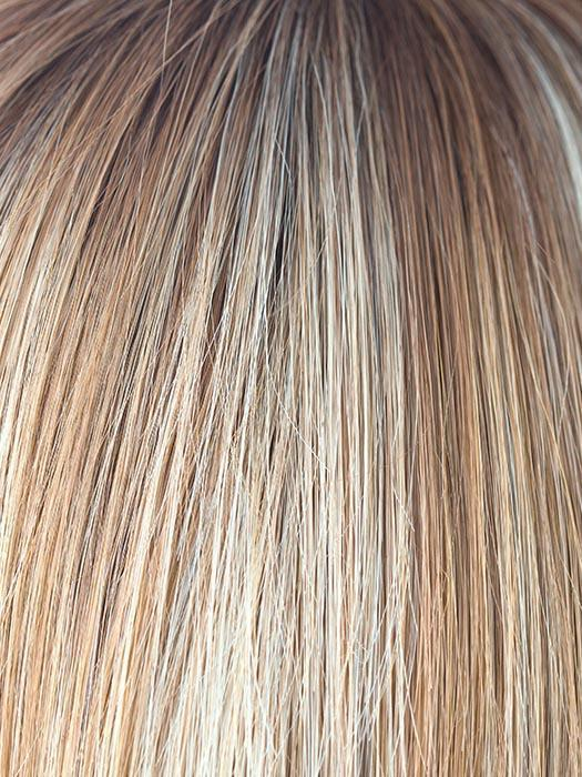 NUTMEG-F | Medium Blonde and Honey Brown Base Frosted with Platinum Blonde Highlights and Medium Golden Roots