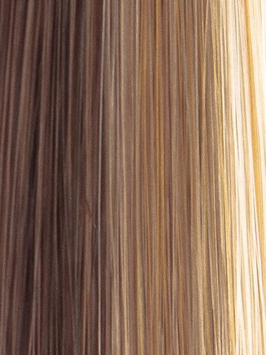 DARK-AMBER-HL | Medium Red Brown and Light Red Brown blend with Dark Brown roots and Champagne highlights