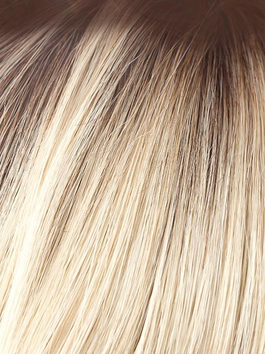 CHAMPAGNE-R | Light Beige Blonde, Medium Honey Blonde, and Platinum Blonde Blend with Dark Roots