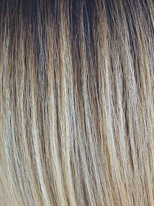 BLONDE-AMBITION | Creamy Blond with Gold and Champagne Highlights and a Dark Brown Long Root