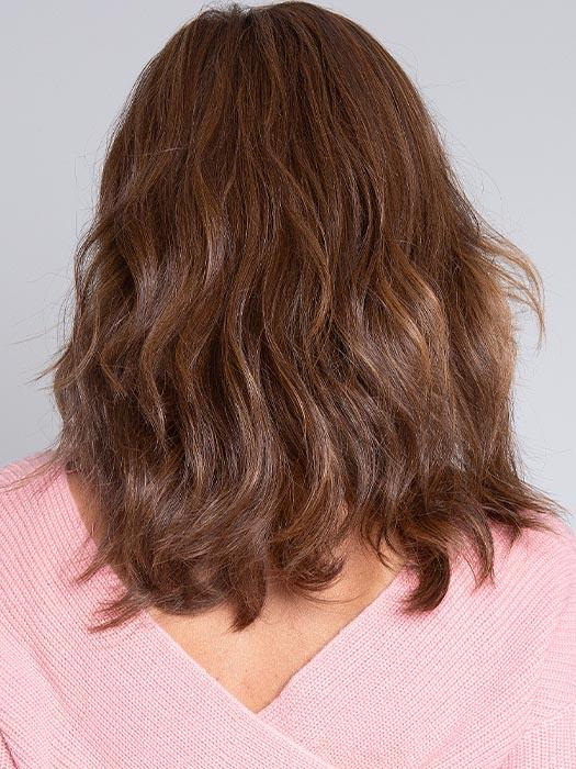 TABU by ELLEN WILLE in CHOCOLATE ROOTED | Medium to Dark Brown base with Light Reddish Brown highlights and Dark Roots