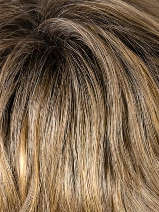 14-16-R8 | Rooted Chestnut Brown blended with Honey Blonde tipped with Dark Ash Blonde