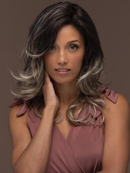 ORCHID by ESTETICA in AMERICANO | Dark Brown Base with Medium Golden Brown, Pale Blonde, and Platinum Blonde Highlights