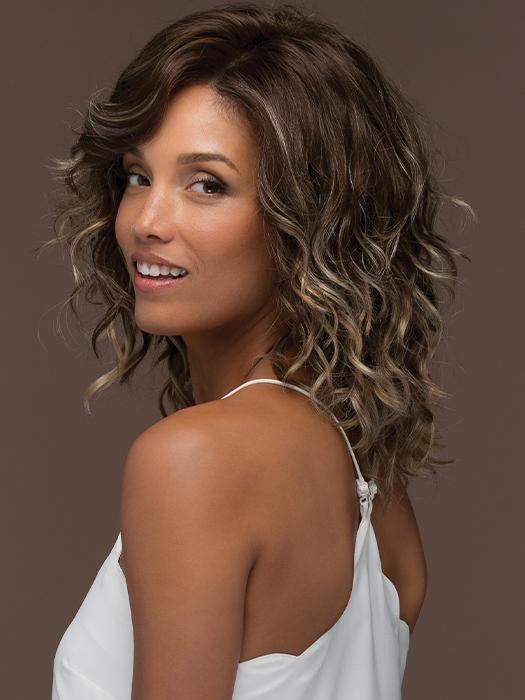 FINN by ESTETICA in ICED-MOCHA | Light Chestnut Brown Base with Light Brown, Ash Blonde, and Golden Blonde Highlights