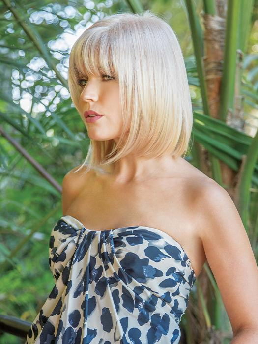 A trendsetting, collar-length bob with a tapered fringe