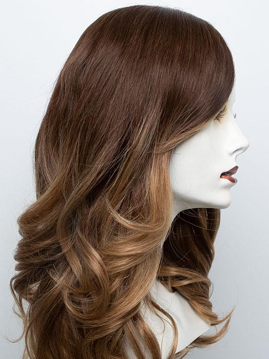 B8/30-14/26RO | Medium Red-Gold Brown Roots to Midlengths, Light Gold Blonde Midlengths to Ends