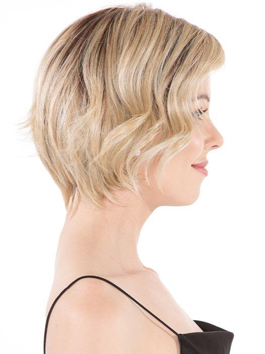 The layered bob transitions to a naturally tapered nape
