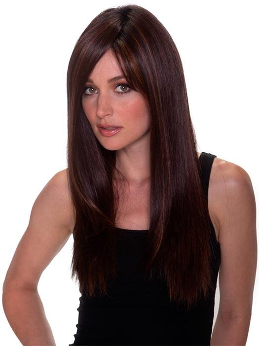 STRAIGHT PRESS 23 by BELLETRESS in COLA WITH CHERRY | Medium Dark Brown/Medium and Dark Auburn Highlights and Dark Brown Roots