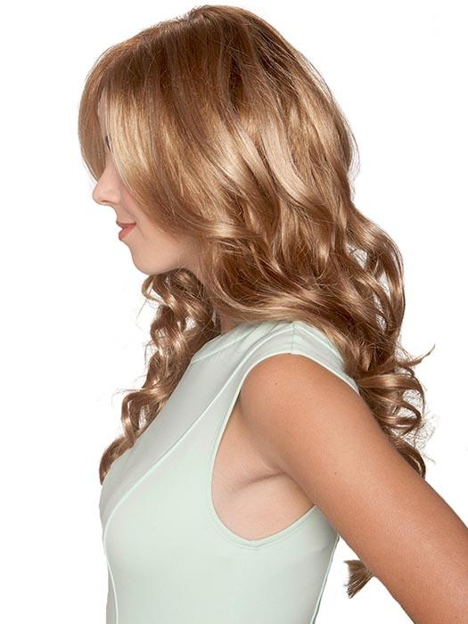 Accentuated by a chic side part, locks flow boldly and beautifully