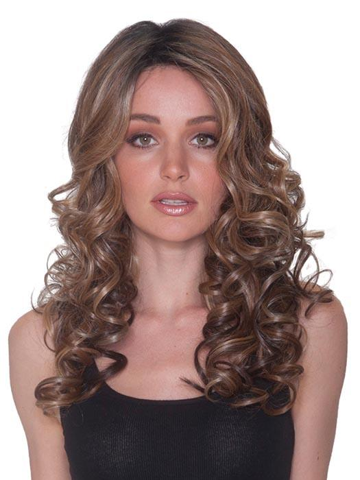 FRENCH CURL by BELLETRESS in MOCHA WITH CREAM | Light Ash Brown with Caramel Brown and Medium Honey Blonde, Dark Brown Roots