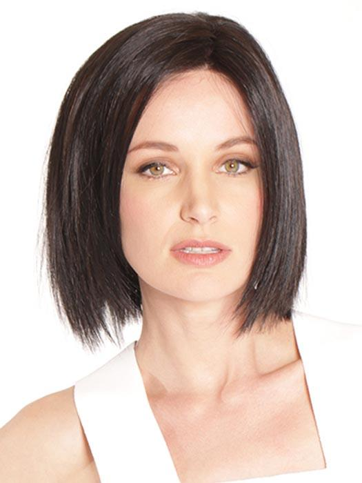 Café Chic falls right below the chin and is unlike any other bob with its straight bottom layers.