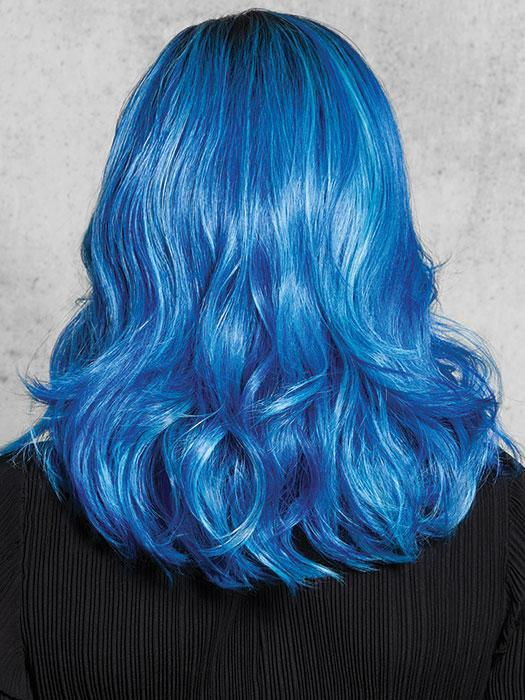 Multidimensional tones of blue and powder blue with a dark rooted base