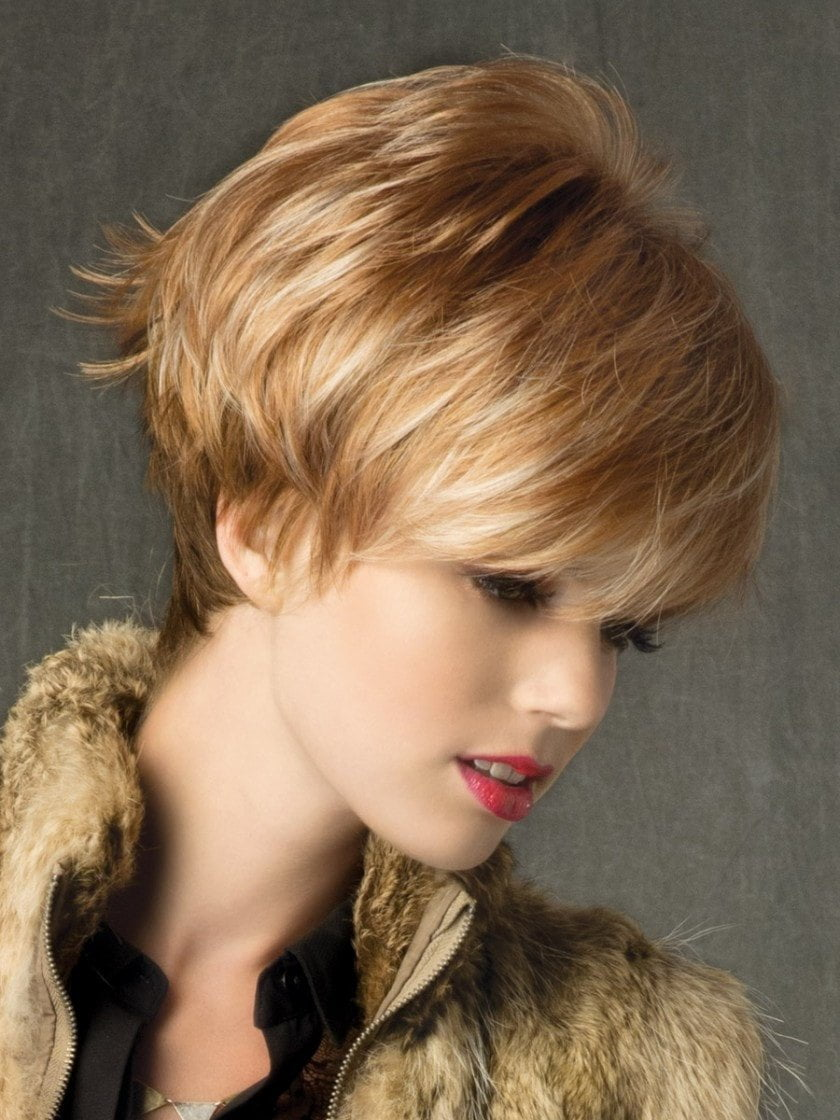 IVY by Noriko in NUTMEG R | Rooted Dark Honey Brown Base with Strawberry Blonde Highlights