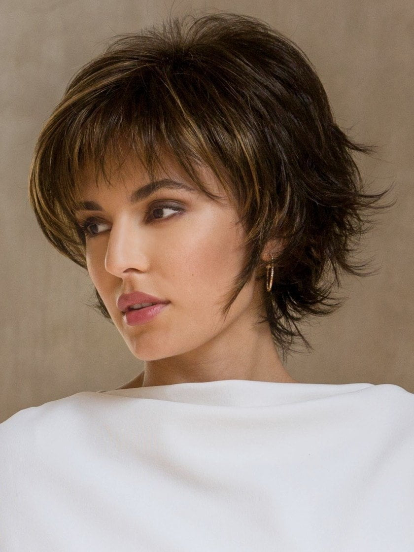 Sky Large is a short, face flattering bob with feathered layers and wispy ends.