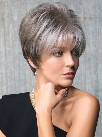 SAMY by Rene of Paris in SANDY SILVER | Silver Medium Brown blend that transitions to more Silver then Medium Brown then to Silver Bangs