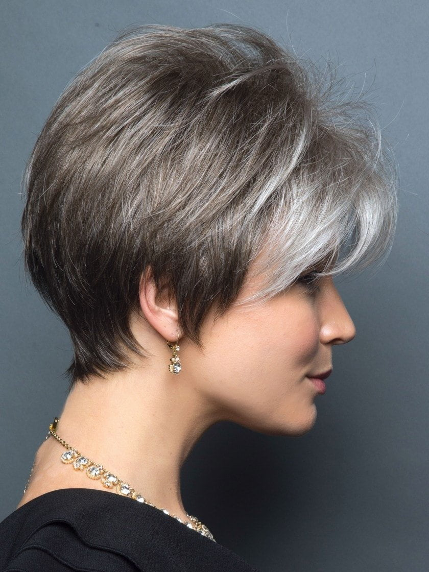 SANDY SILVER | Silver Medium Brown blend that transitions to more Silver then Medium Brown then to Silver Bangs