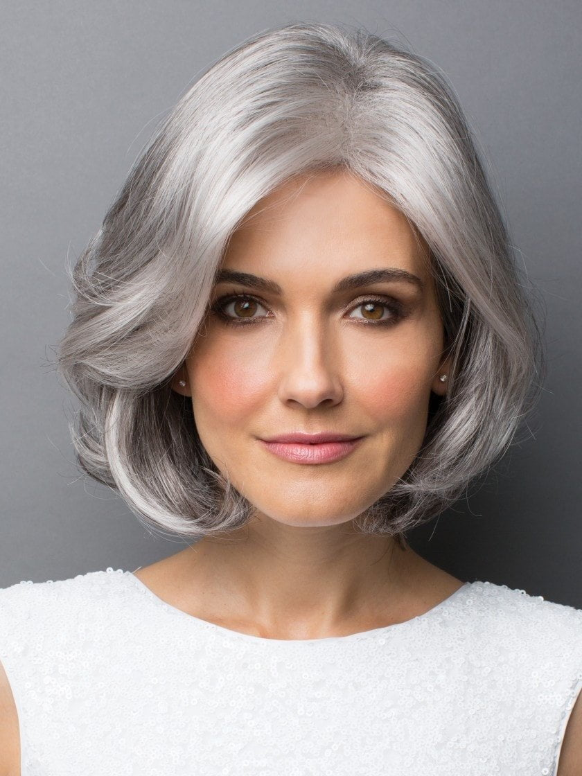 AMAL by Rene of Paris in SILVER-STONE | Medium Brown and Silver blend that transitions to more Silver Light Ash Brown to Silver Bangs