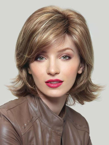 CLAIRE by Noriko in MOCHACCINO R | Rooted Dark with Light Brown base with Strawberry Blonde highlights