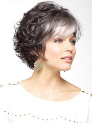 SANDIE by Noriko in MIDNIGHT PEARL | Darkest Brown Base Blended with Silver and Dramatic Silver Bangs