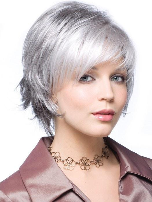 SKY by Noriko in SILVER STONE  | Silver Medium Brown Blend That Transitions To More Silver Then Medium Brown Then To Silver Bangs