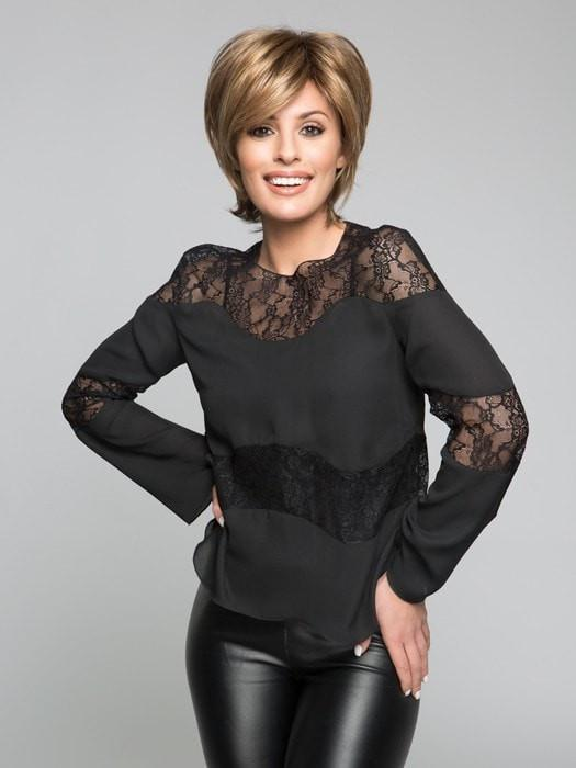 Sky by Noriko is a Best Seller, this short, face flattering bob with feathered layers and wispy ends. | Color MOCHACCINO R