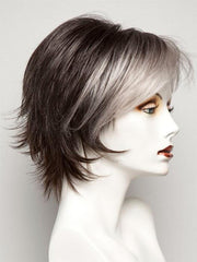 MIDNIGHT PEARL | Darkest Brown Base Blended with Silver and Dramatic Silver Bangs