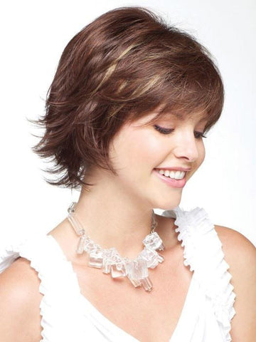 "An eye-catching, feathered and layered cut. Just give the wig a quick shake to awaken the tousled, ""shake-and-go"" style"