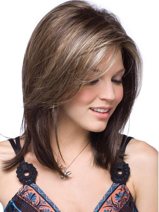 JACKSON by Noriko in CHOCOLATE FROST R | Rooted Dark with a Dark Brown Base with Honey Blonde and Platinum highlights