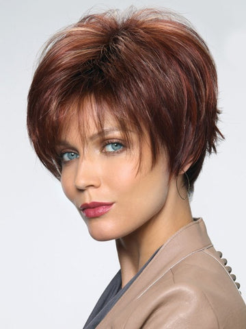 MORGAN by Noriko in RAZBERRY ICE R | Rooted Dark Auburn with Medium Auburn Base with Copper and Strawberry Blonde Highlights