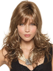 AVERY by Noriko in MAPLE SUGAR R | Rooted Dark with Light Honey Brown base with Strawberry Blonde highlights