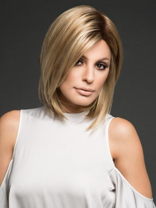 HAILEY by Noriko in CREAMY TOFFEE R | Rooted Dark with Light Platinum Blonde and Light Honey Blonde evenly blended