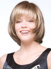 A collar length bob with an elevated perimeter and chipped ends