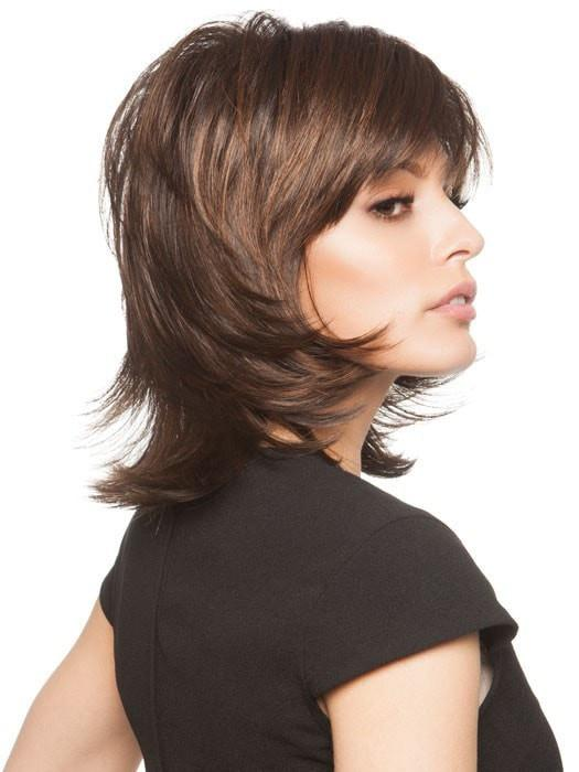 A mid-length, layered shag cut with a wispy bang