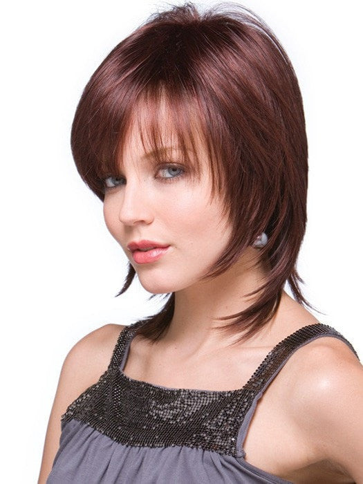 Trim the bang or wear it off to the side | Color: Chestnut