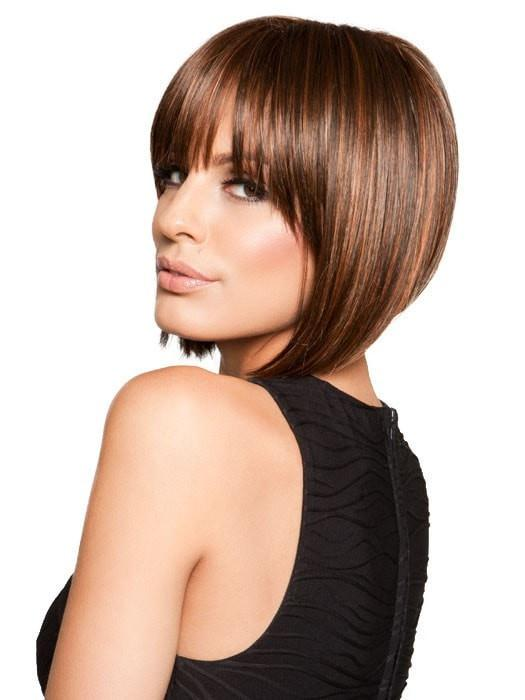 Bold, blunt bangs and a tapered back