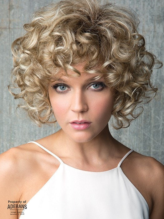 Abundant in volume, body and beautiful curls. | Color: Creamy Toffee-R Light Platinum Blonde and Light Honey Blonde blend with Dark Roots