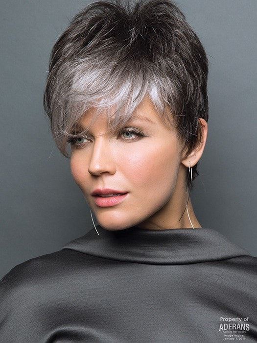 The bangs can be trimmed for a more wispy style | Color: Midnight Pearl- Dark Brown base with Dark Brown and Silver blend with Silver bangs