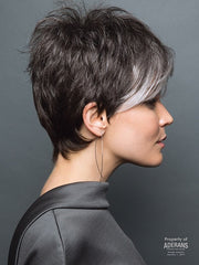Full of body and movement on top | Color: Midnight Pearl- Dark Brown base with Dark Brown and Silver blend with Silver bangs