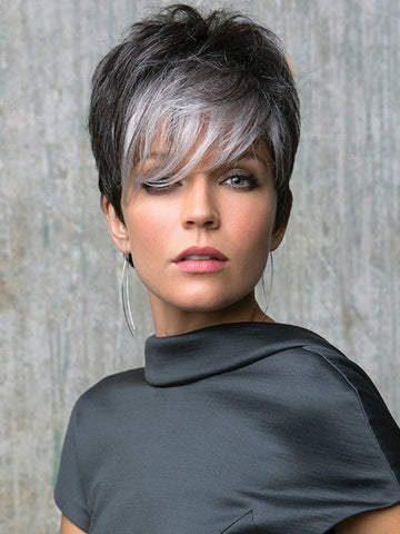 Long fringe with a spiky top for an edgy, fun look | Color: Midnight Pearl- Dark Brown base with Dark Brown and Silver blend with Silver bangs