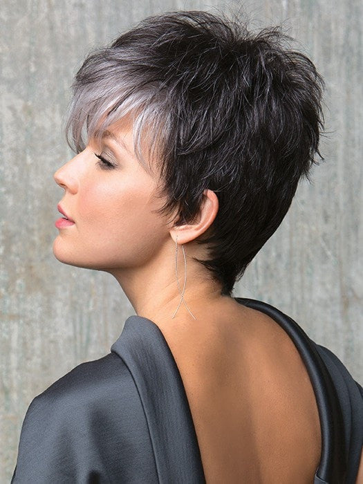 Textured Layers | Color: Midnight Pearl- Dark Brown base with Dark Brown and Silver blend with Silver bangs